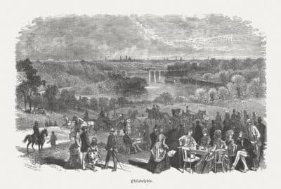 Fairmount Park in Philadelphia, wood engraving, published in 1880